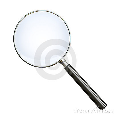 Magnifying glass on white. Clipping path included.