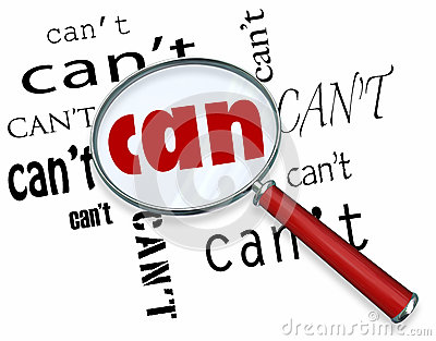 Magnifying Glass on Word Can Vs. Can t Positive Attitude