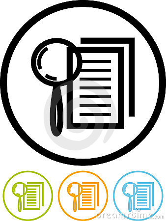 Magnifying lens and document - Vector icon