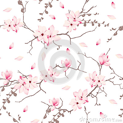 Free Magnolia Blossom Trees Seamless Vector Pattern Stock Photo - 50749210