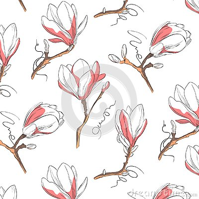Free Magnolia Flower Pattern. Repeat Botanical Texture With Flowers In Blue And Pastel Pink On White Background. Hand Drawn Stock Photos - 134242403