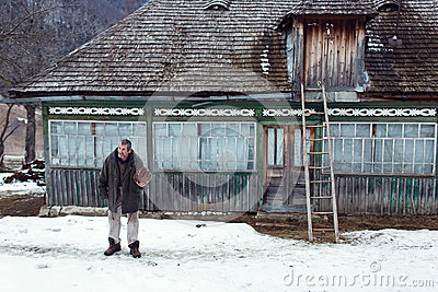 Magura romania 05 feb old romanian peasant in front of his old house on february 05 2015 - Romanian peasant houses ...