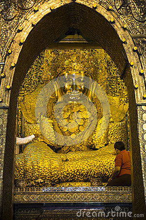 Mahar Myat Muni Buddha - Mandalay - Myanmar Editorial Stock Photo