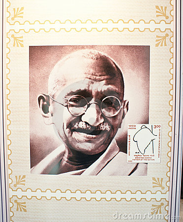 Mahatma Gandhi commemorated in Indian Stamp Editorial Photo