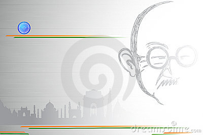 Mahatma Gandhi on Indian City scape Editorial Stock Image