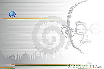 Mahatma Gandhi on Indian City scape Editorial Stock Image