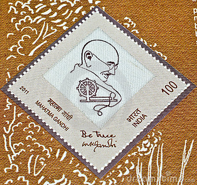 Mahatma Gandhi s postage stamp on Khadi Editorial Photo