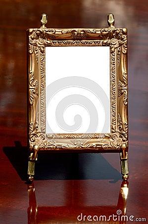 Mahogany, brass & gilded frame