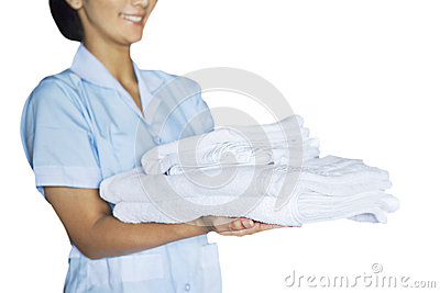 Maid woman with towels