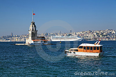 Maiden s Tower and ships in Istanbul Editorial Stock Photo