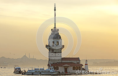 Maiden s Tower at sunset in Istanbul