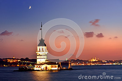 Maiden s Tower view at night with crescent. Istanbul Turkey