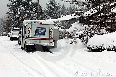 Mail delivery during snow storm Editorial Stock Photo