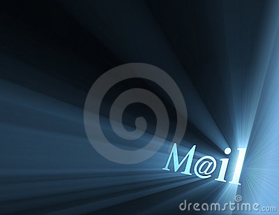 Mail at email symbol light flare