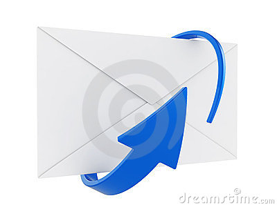 Mail envelope and arrow
