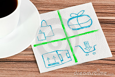 Mail logo on a napkin