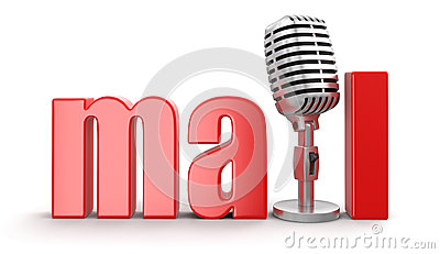 Mail with Microphone (clipping path included)