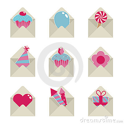 Free Mail Party Icons Stock Photography - 14542612