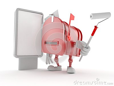 Mailbox character with blank billboard Stock Photo