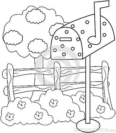 mailbox coloring pages for kids | Mailbox Coloring Page Stock Illustration - Image: 52718493