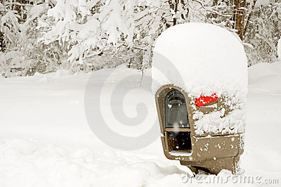 Mailbox covered in deep snow