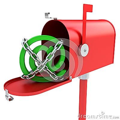 Mailbox with e-mail logo inside