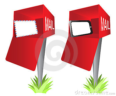 Mailbox with a Envelope and Tablet PC Pad Clip Art