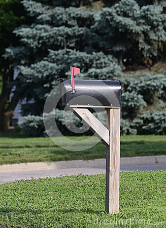 Mailbox with flag raised
