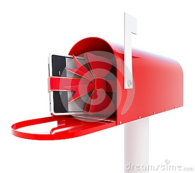 Mailbox gift phone 3d Illustrations