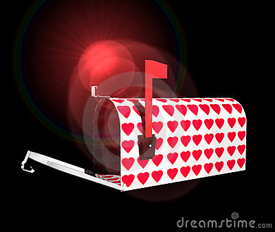 Mailbox With Red Hearts