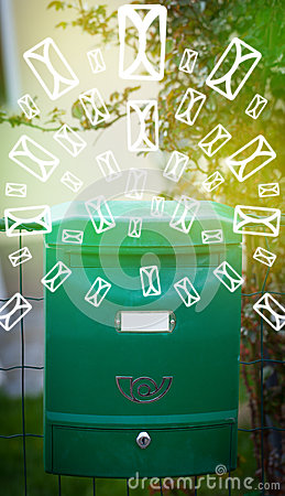 Free Mailbox With Letter Icons On Glowing Green Background Royalty Free Stock Photography - 34004557