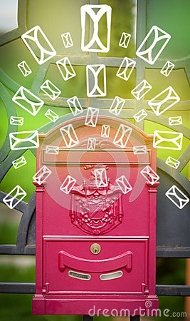 Free Mailbox With Letter Icons On Glowing Green Background Stock Images - 41672314