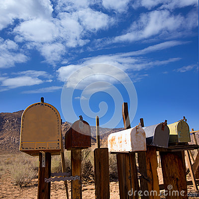 Free Mailboxes Aged Vintage In West California Desert Royalty Free Stock Images - 33617349