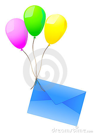 Mailing envelope and balloons