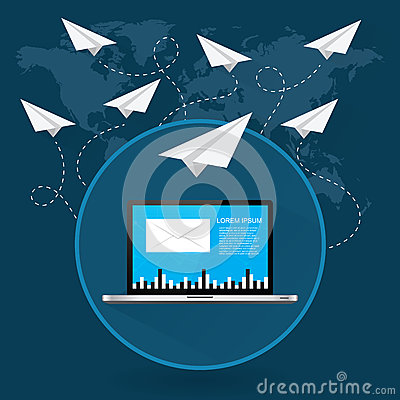 Free Mails Flying Around The World As Paper Airplanes Royalty Free Stock Photo - 53037995