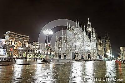 Main cathedral at night in Milan