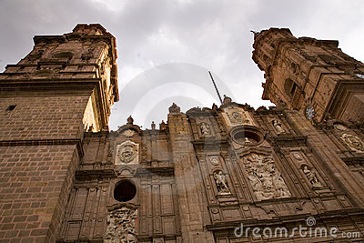Main Cathedral Steeples Looking Up Morelia Mexico