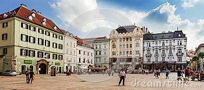 Main City Square in Old Town in Bratislava, Slovakia Editorial Stock Image
