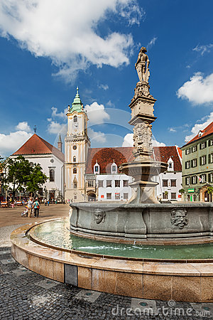 Main City Square in Old Town in Bratislava, Slovakia Editorial Photography