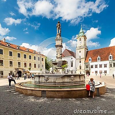 Main City Square in Old Town in Bratislava, Slovakia Editorial Stock Photo