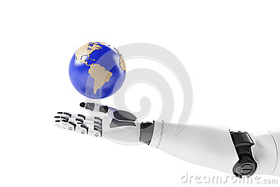 Main d un robot avec la terre
