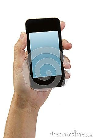 main de l 39 homme tenant le smartphone ou le t l phone portable moderne avec l 39 cran d 39 affichage. Black Bedroom Furniture Sets. Home Design Ideas