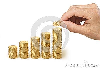 Main des dollars de cotisations de retraite d affaires d argent