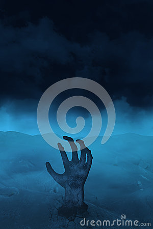 Main des vampires sur le bleu