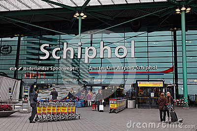 Main Entrance in Schiphol Airport- Amsterdam Editorial Stock Photo
