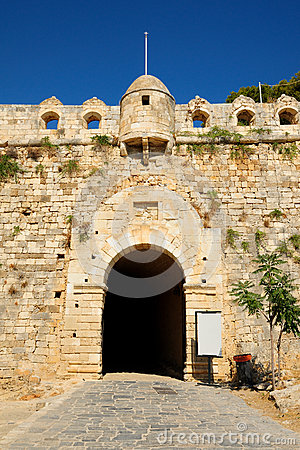 Main entrance to fortress Fortezza in city of Rethymno, Crete