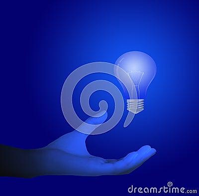 Main et ampoules bleues