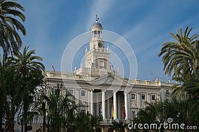Main facade of the City Hall of Cadiz