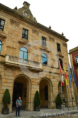Free Main Facade Of The Town Hall In Gijon. Architecture, Travel, Holidays, Cities. Royalty Free Stock Image - 128068146
