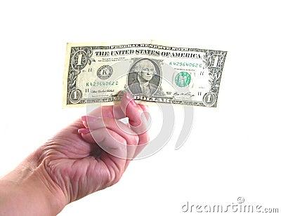 Main femelle avec le dollar